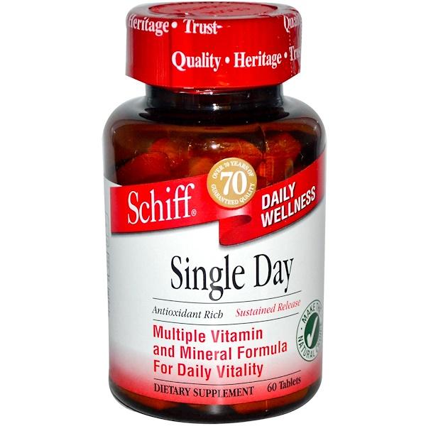 Schiff, Single Day, Мультивитаминная и минеральная формула 60 таблеток (Discontinued Item)