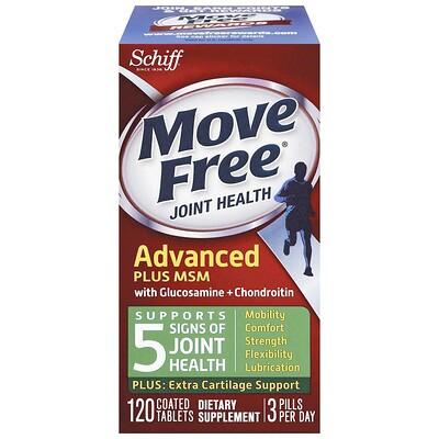 Schiff Move Free, Advanced Plus MSM с глюкозамином и хондроитином, 120 таблеток в оболочке