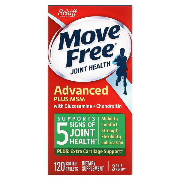 Schiff, Move Free 관절 건강, 어드밴스드 플러스 MSM, 글루코사민 및 콘드로이틴 함유, 코팅 정제 120정