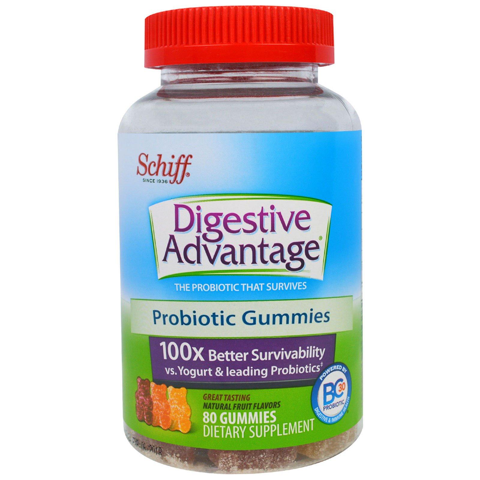 Schiff, Для Здорового Пищеварения, Жевательные Сладости с Пробиотиком, Натуральный Фруктовый Вкус, 80 штук