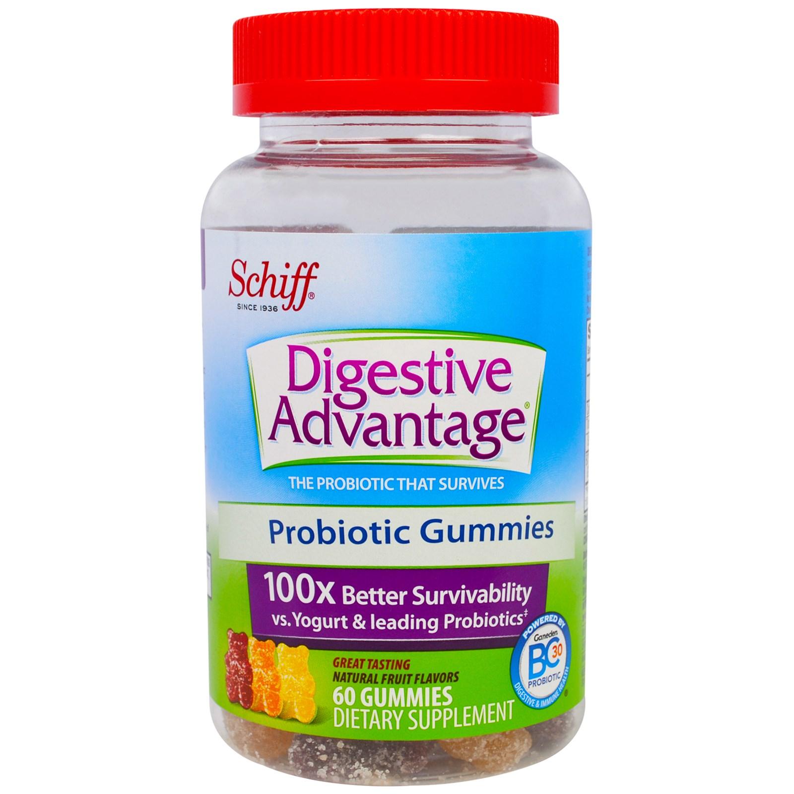 Schiff, Для Здоровго Пищеварения, Жевательные Сладости с Пробиотиком, Натуральный Фруктовый Вкус, 60 штук