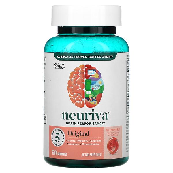 Neuriva Brain Performance, Original, Strawberry, 50 Gummies