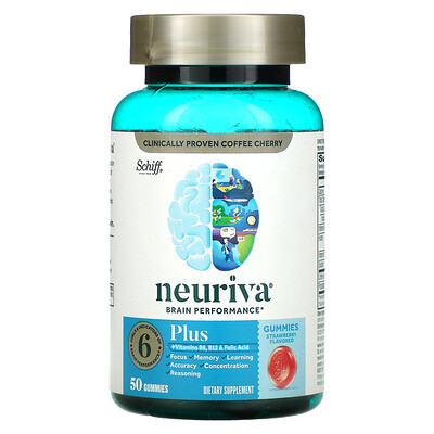 Schiff Neuriva Brain Performance, Plus, Strawberry, 50 Gummies