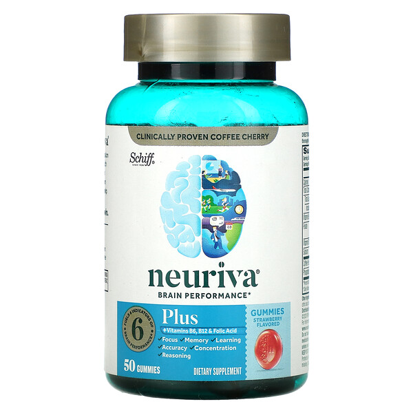 Neuriva Brain Performance, Plus, Strawberry, 50 Gummies