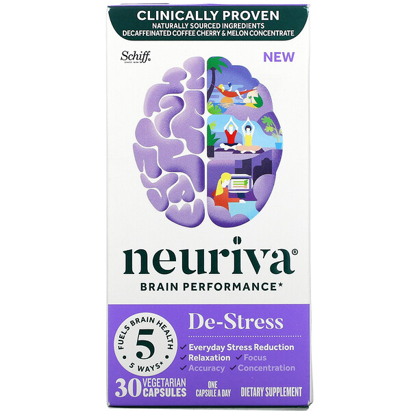 Neuriva Brain Performance, De-Stress, 30 Vegetarian Capsules