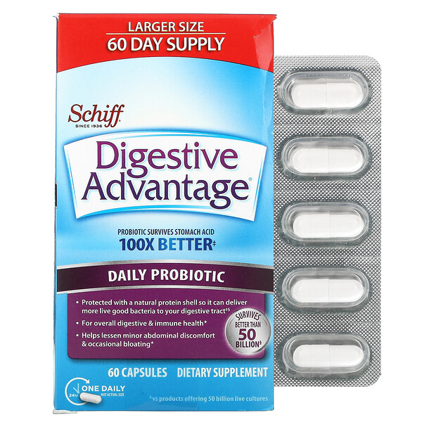 Digestive Advantage, Daily Probiotic, 60 Capsules