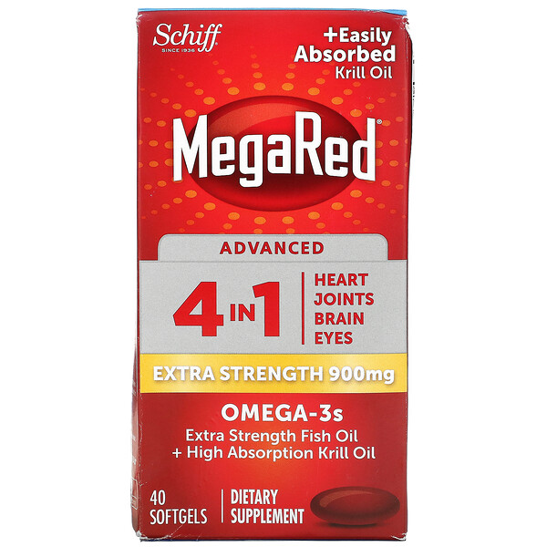 MegaRed, Advanced 4 In 1 Omega-3s, Extra Strength, 900 mg, 40 Softgels