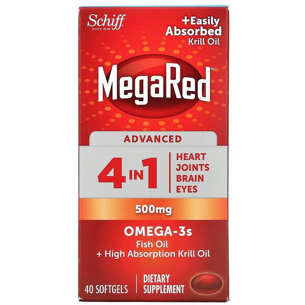 MegaRed, Advanced 4 In 1 Omega-3s, 500 mg, 40 Softgels
