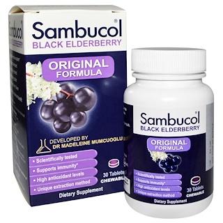 Sambucol, 블랙 엘더베리, 면역 시스템 서포트,오리지날 포뮬러, 씹어먹는 30정