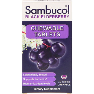 Sambucol, Black Elderberry, Original Formula, Immune System Support, 30 Tablets Chewable