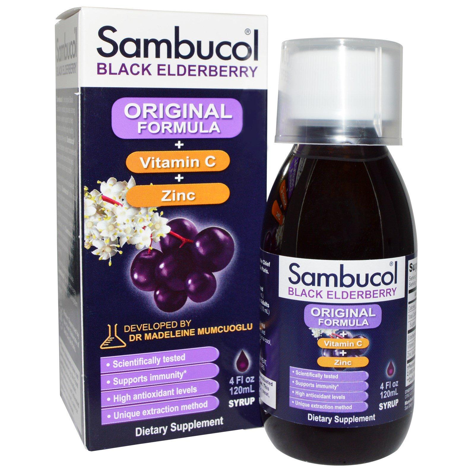 Sambucol, Черная бузина, Оригинальная формула, Витамин С + Цинк, 4 жидкие унции (120 мл)