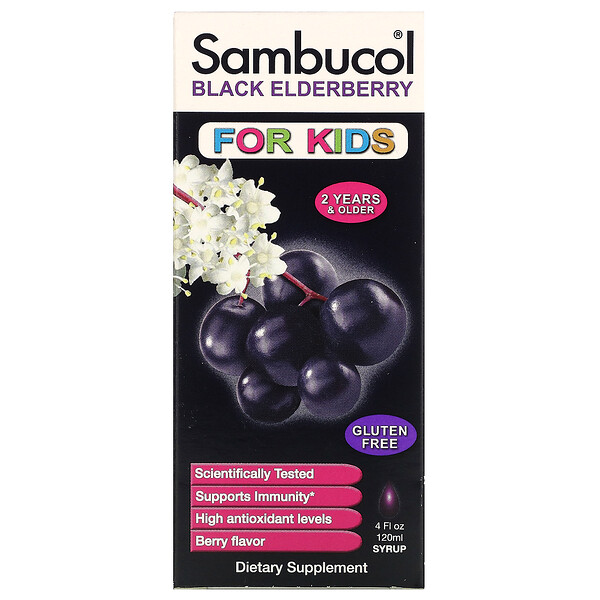 Sambucol, Black Elderberry Syrup, For Kids, Berry Flavor, 4 fl oz (120 ml)