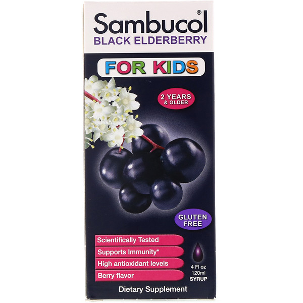 Black Elderberry Syrup, For Kids, Berry Flavor, 4 fl oz (120 ml)
