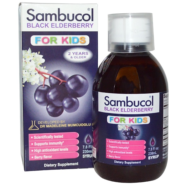 兒童健康補充劑,兒童:Sambucol, Black Elderberry, For Kids Syrup, Berry Flavor, 7、8 fl oz (230 ml)