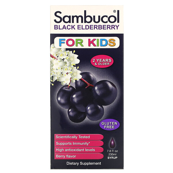 Sambucol, Black Elderberry Syrup, For Kids, Berry Flavor, 7.8 fl oz (230 ml)