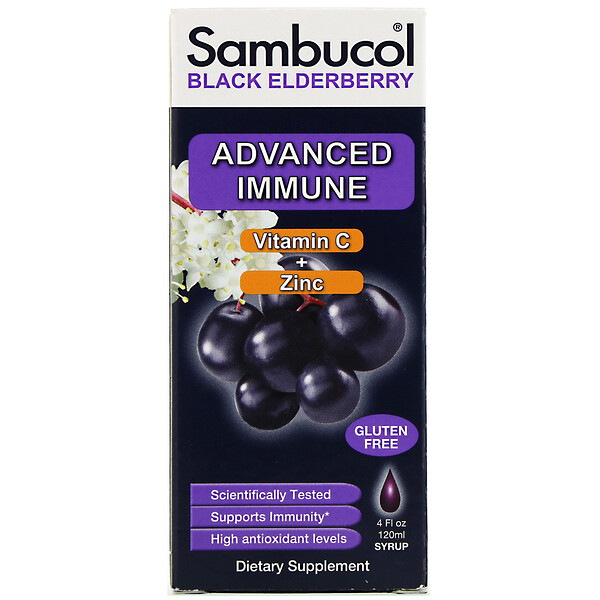 Black Elderberry Syrup, Advanced Immune, Vitamin C + Zinc, Natural Berry, 4 fl oz (120 ml)