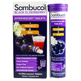 Sambucol, Black Elderberry, tabletas efervescentes, 15 tabletas efervescentes
