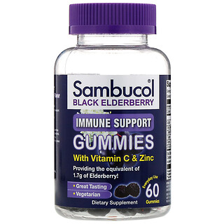 Sambucol, Черная бузина, жевательные таблетки для поддержки иммунитета, с витаминомC и цинком, вкус натуральных ягод, 60жевательных таблеток