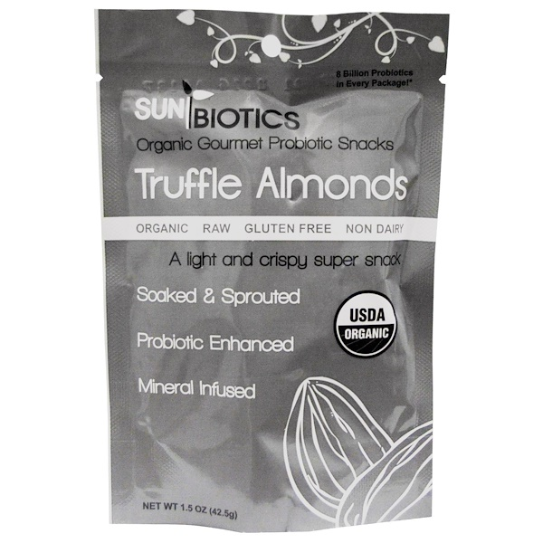 Sunbiotics, Organic Gourmet Probiotic Snacks, Truffle Almonds, 1.5 oz (42.5 g) (Discontinued Item)