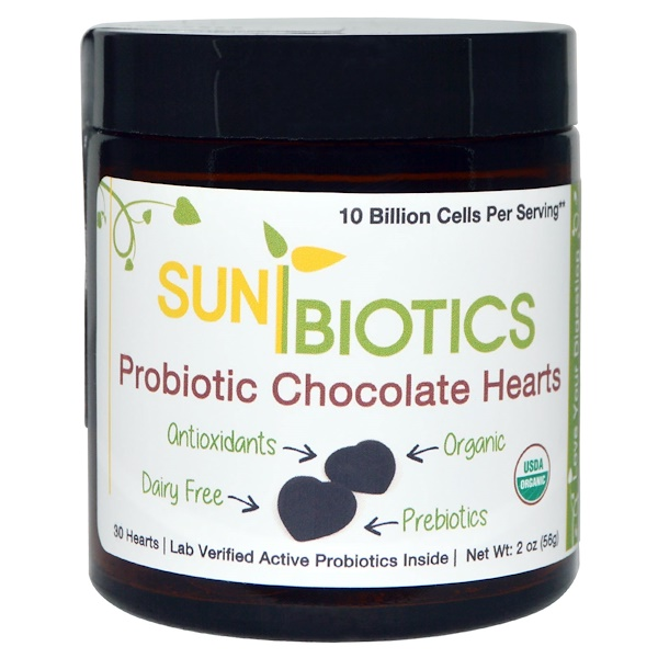 Sunbiotics, Probiotic Chocolate Hearts, 30 Hearts, 2 oz (56 g) (Discontinued Item)