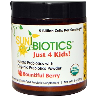 Sunbiotics, Just 4 Kids! Potent Probiotics with Organic Prebiotics Powder, Bountiful Berry, 2 oz (57 g)