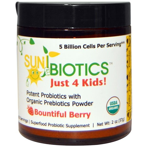 :Sunbiotics, Just 4 Kids! Potent Probiotics with Organic Prebiotics Powder, Bountiful Berry, 2 oz (57 g)