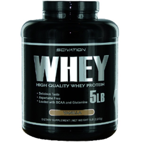 Scivation, Whey, High Quality Whey Protein, Vanilla, 5 lb (2,272 g) (Discontinued Item)