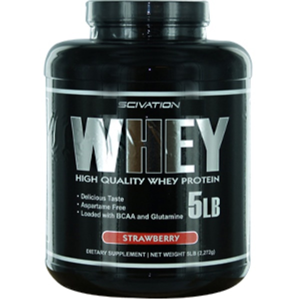 Scivation, Whey, High Quality Whey Protein, Strawberry, 5 lbs (2,272 g) (Discontinued Item)
