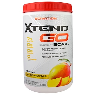 Scivation, Xtend GO, Энергия + Аминокислоты, Нектар Манго, 15,45 унций (438 г)