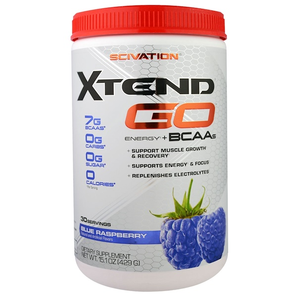 Scivation, Xtend GO, Энергия + Аминокислоты, Голубая Малина, 15,1 унция (429 г) (Discontinued Item)