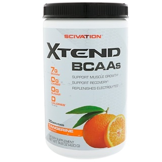 Scivation, Xtend BCAAs, Tangerina, 14,8 onças (420 g)