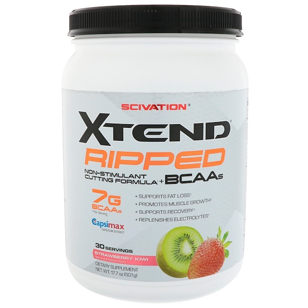 Scivation, Xtend Ripped BCAAs, Strawberry Kiwi, 1.1 lbs (501 g)