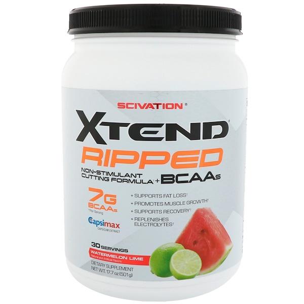 Scivation, الأحماض الأمينية متفرعة السلسلة Xtend Ripped، بطيخ وليمون، 17.7 أوقية (501 غرام)