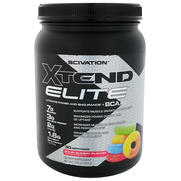 Scivation, Xtend Elite BCAAs, Sour Gummy Flavor, 1.3 lbs (594 g)