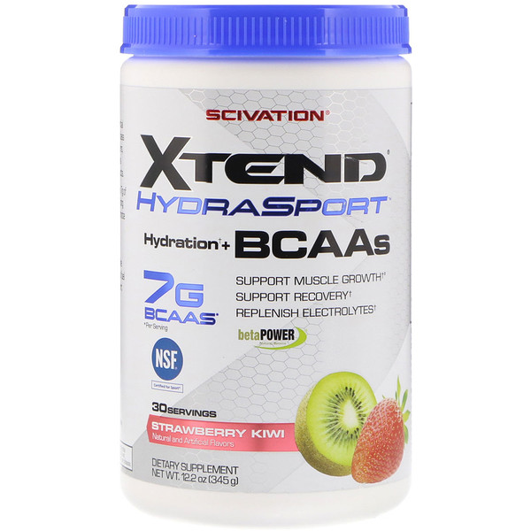 Scivation, Xtend HydraSport, Hydration + BCAAs, Strawberry Kiwi, 12.2 oz  (345 g)