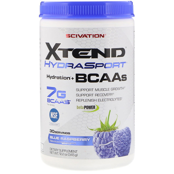 Scivation, Xtend HydraSport, Hydration + BCAAs, Blue Raspberry, 12.2 oz (345 g) (Discontinued Item)