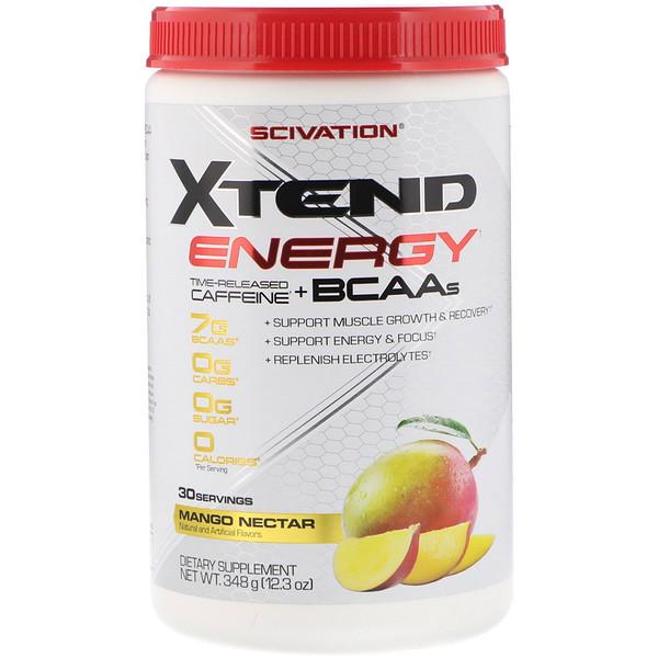 Scivation, Xtend Energia, Cafeína de Liberação Prolongada + ACRs, Néctar de Manga, 348 g