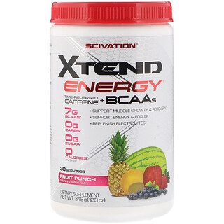 Scivation, Xtend Energy, Time Released Caffeine + BCAAs, Fruit Punch, 12.3 oz (348 g)