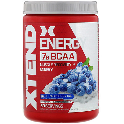 Купить Xtend Energy, 7г аминокислот с разветвленной цепью (BCAA), со вкусом голубой малины, 348г (12, 3унции)