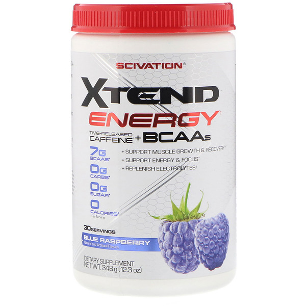 Scivation, Xtend Energy, Time Released Caffeine + BCAAs, Blue Raspberry, 12.3 oz (348 g)