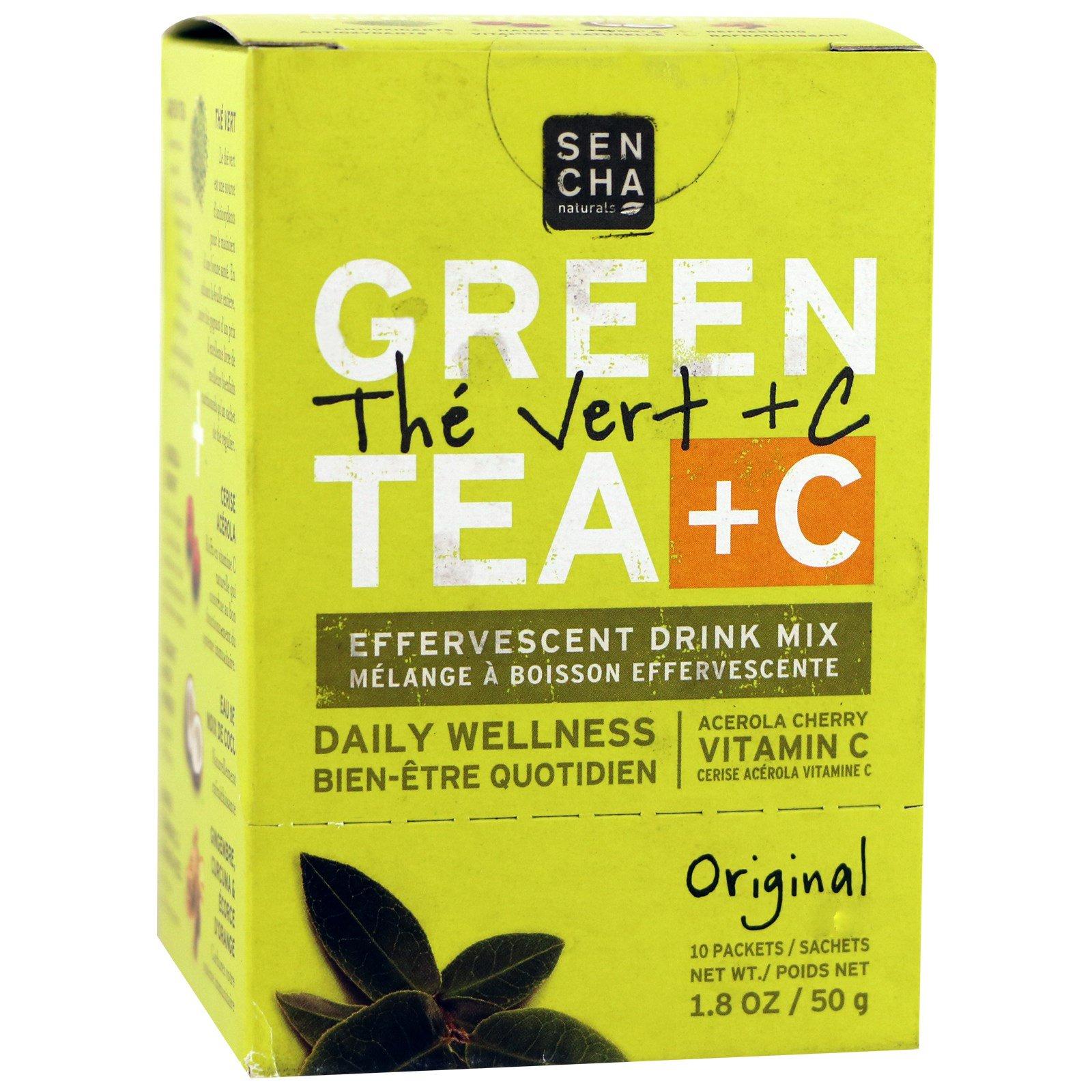 Sencha Naturals, Зеленый чай + C, оригинальный, 10 пакетиков, по 1,8 унции (50 г) каждый