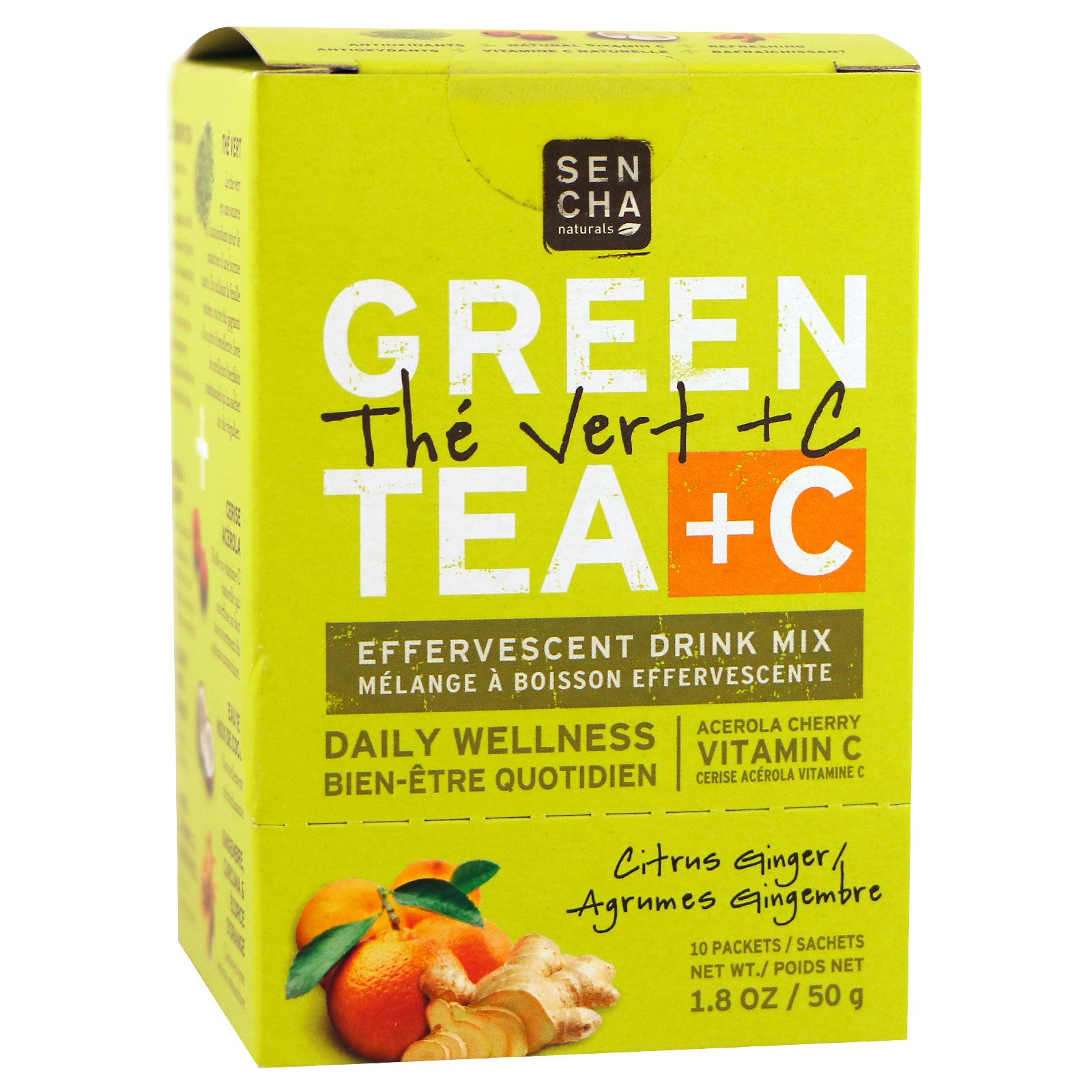 Sencha Naturals, Citrus Ginger Green Tea +C Packets, 10 ct
