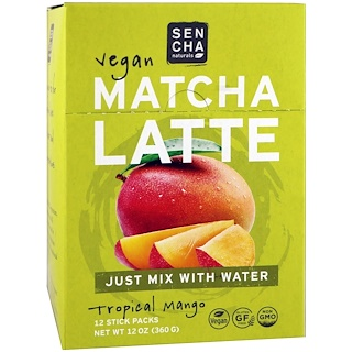 Sencha Naturals, Matcha Latte, Tropical Mango, 12 Stick Packs, 1 oz (30 g) Each