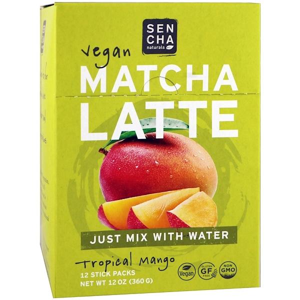 Sencha Naturals, 抹茶拿鐵,熱帶芒果,12包,每包1盎司(30克)