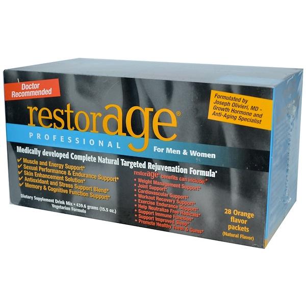 Stuart Consumer Product Labs, Inc, RestorAGE, Professional, For Men & Women, Orange Flavor, 28 Packets (Discontinued Item)