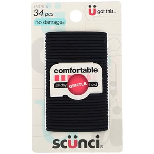 Scunci, No Damage Elastics, Comfortable, All Day Gentle Hold, Black, 34 Pieces отзывы покупателей
