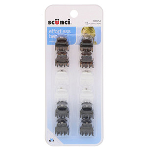Scunci, Effortless Beauty, Mini Oval Jaw Clips, Assorted Colors, 12 Pieces отзывы