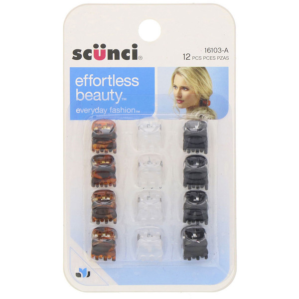 Scunci, Effortless Beauty, Minipinzas, varios colores, 12 unidades