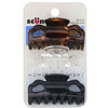 Scunci, Effortless Beauty, Jaw Clips, Assorted Colors, 3 Pieces