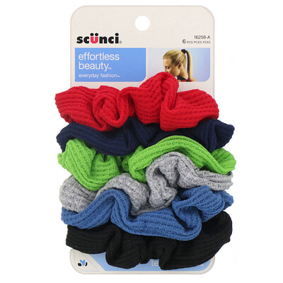 Купить Scunci Текстурные резинки для волос Effortless Beauty, разные цвета, 6штук